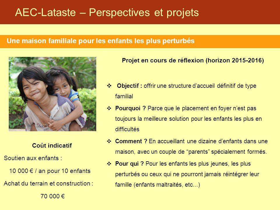 AEC-Lataste – Perspectives et projets Une maison familiale pour les enfants les plus perturbés Projet en cours de réflexion (horizon 2015-2016)  Obje