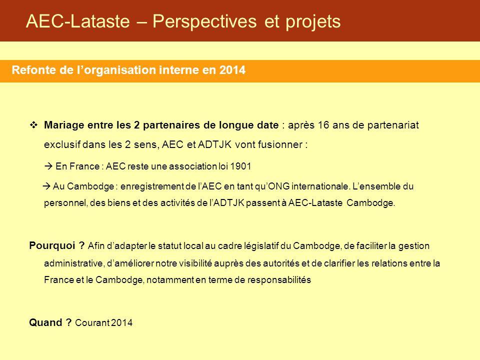 AEC-Lataste – Perspectives et projets Refonte de l'organisation interne en 2014  Mariage entre les 2 partenaires de longue date : après 16 ans de par