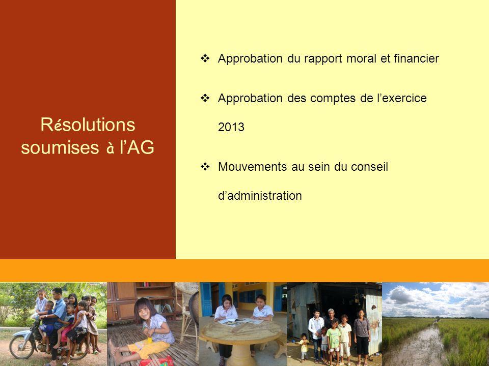 R é solutions soumises à l'AG  Approbation du rapport moral et financier  Approbation des comptes de l'exercice 2013  Mouvements au sein du conseil