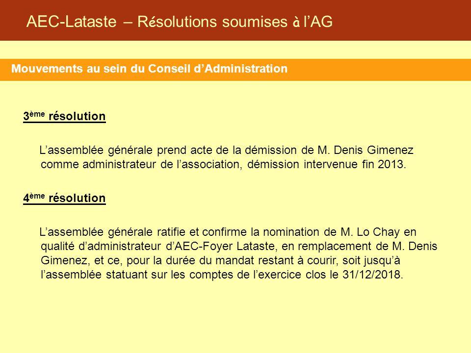 AEC-Lataste – R é solutions soumises à l'AG 3 ème résolution L'assemblée générale prend acte de la démission de M. Denis Gimenez comme administrateur