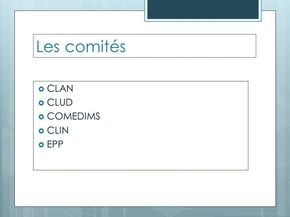 Les comités  CLAN  CLUD  COMEDIMS  CLIN  EPP