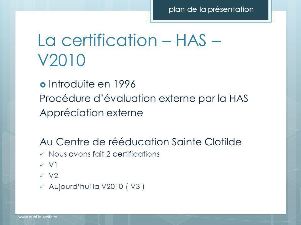 La certification – HAS – V2010 plan de la présentation www.qualite-sante.re  Introduite en 1996 Procédure d'évaluation externe par la HAS Appréciation externe Au Centre de rééducation Sainte Clotilde Nous avons fait 2 certifications V1 V2 Aujourd'hui la V2010 ( V3 )