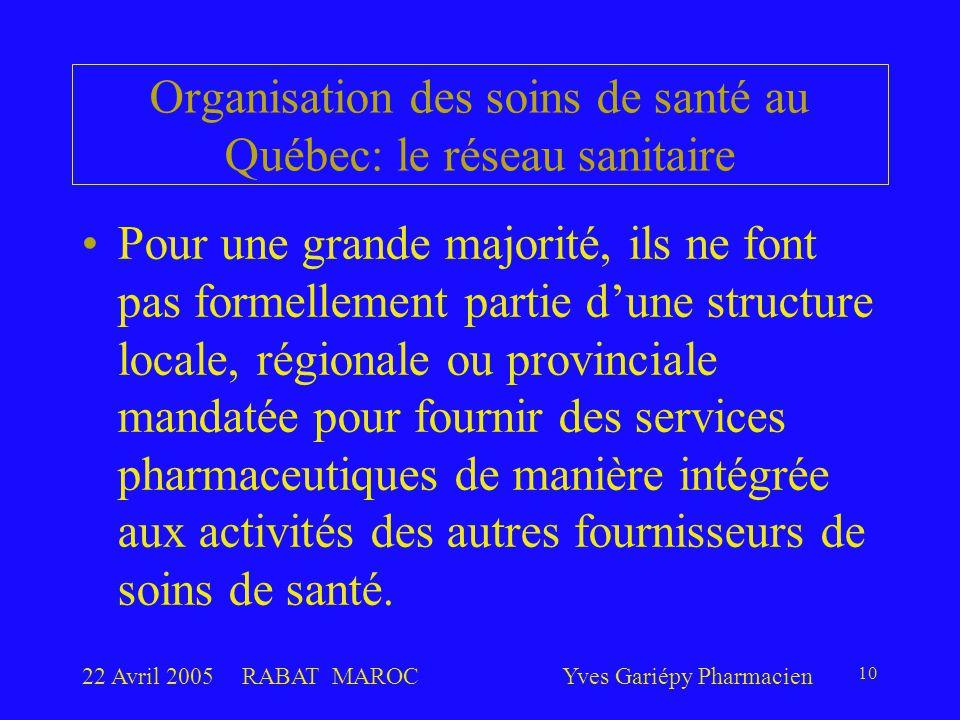 22 Avril 2005RABAT MAROCYves Gariépy Pharmacien 10 Pour une grande majorité, ils ne font pas formellement partie d'une structure locale, régionale ou