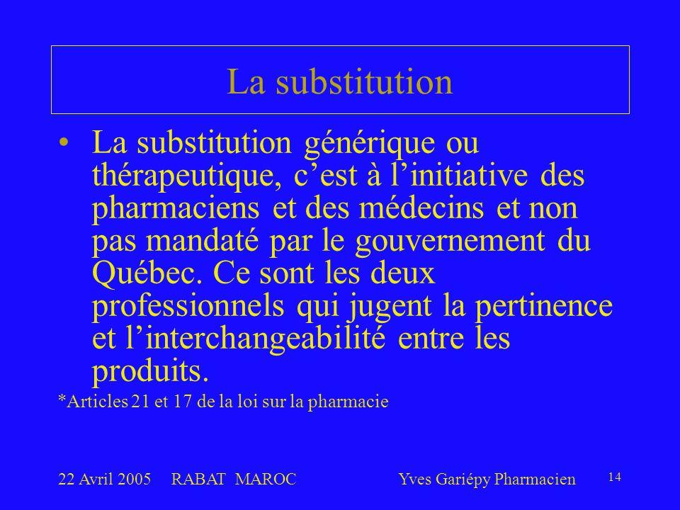 22 Avril 2005RABAT MAROCYves Gariépy Pharmacien 14 La substitution La substitution générique ou thérapeutique, c'est à l'initiative des pharmaciens et