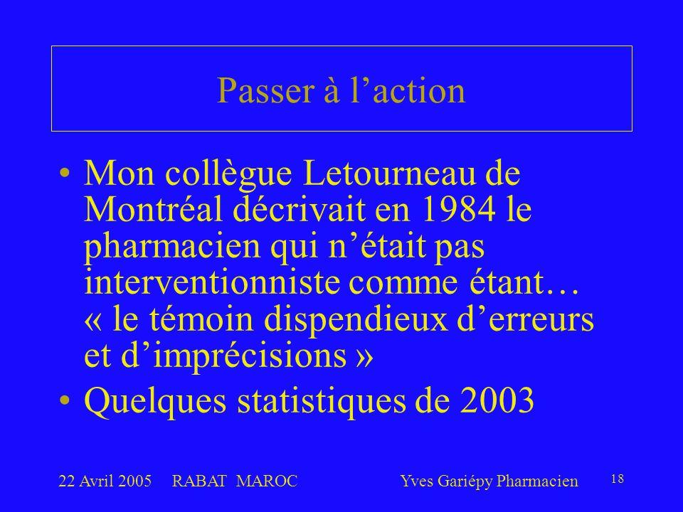22 Avril 2005RABAT MAROCYves Gariépy Pharmacien 18 Passer à l'action Mon collègue Letourneau de Montréal décrivait en 1984 le pharmacien qui n'était pas interventionniste comme étant… « le témoin dispendieux d'erreurs et d'imprécisions » Quelques statistiques de 2003