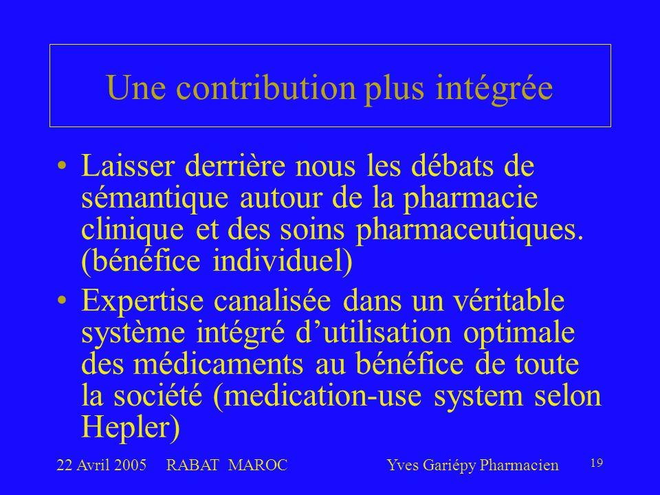 22 Avril 2005RABAT MAROCYves Gariépy Pharmacien 19 Une contribution plus intégrée Laisser derrière nous les débats de sémantique autour de la pharmaci