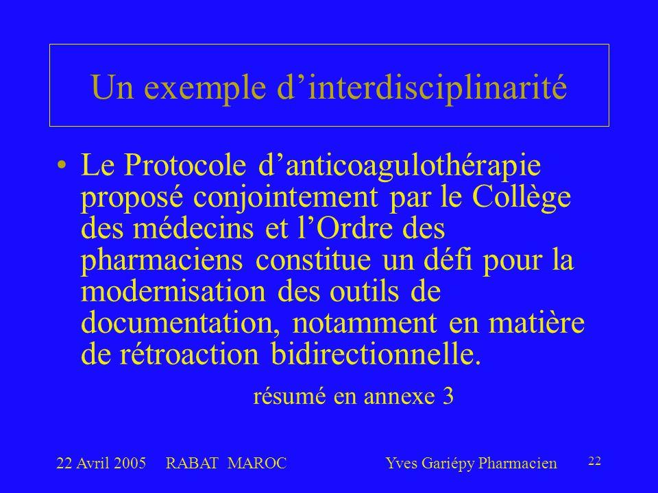 22 Avril 2005RABAT MAROCYves Gariépy Pharmacien 22 Un exemple d'interdisciplinarité Le Protocole d'anticoagulothérapie proposé conjointement par le Collège des médecins et l'Ordre des pharmaciens constitue un défi pour la modernisation des outils de documentation, notamment en matière de rétroaction bidirectionnelle.
