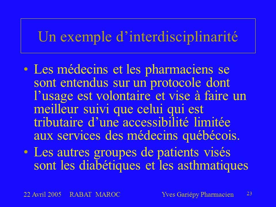 22 Avril 2005RABAT MAROCYves Gariépy Pharmacien 23 Un exemple d'interdisciplinarité Les médecins et les pharmaciens se sont entendus sur un protocole