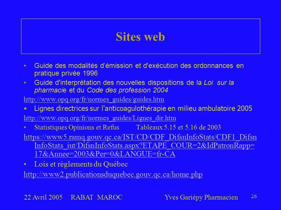 22 Avril 2005RABAT MAROCYves Gariépy Pharmacien 26 Guide des modalités d'émission et d'exécution des ordonnances en pratique privée 1996 Guide d'inter