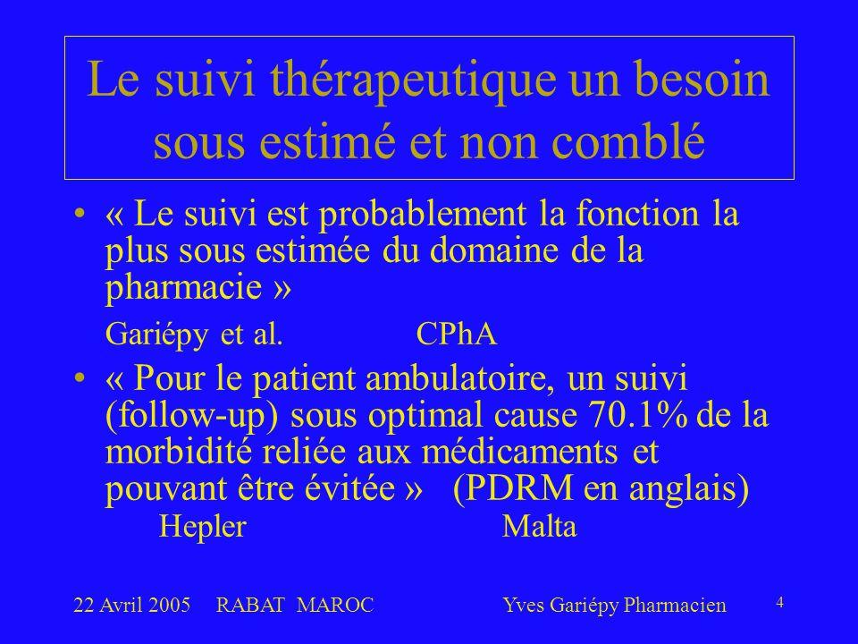 22 Avril 2005RABAT MAROCYves Gariépy Pharmacien 4 Le suivi thérapeutique un besoin sous estimé et non comblé « Le suivi est probablement la fonction la plus sous estimée du domaine de la pharmacie » Gariépy et al.CPhA « Pour le patient ambulatoire, un suivi (follow-up) sous optimal cause 70.1% de la morbidité reliée aux médicaments et pouvant être évitée » (PDRM en anglais) Hepler Malta