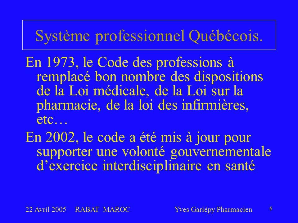 22 Avril 2005RABAT MAROCYves Gariépy Pharmacien 6 Système professionnel Québécois. En 1973, le Code des professions à remplacé bon nombre des disposit