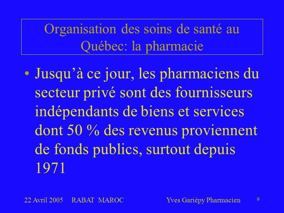 22 Avril 2005RABAT MAROCYves Gariépy Pharmacien 9 Jusqu'à ce jour, les pharmaciens du secteur privé sont des fournisseurs indépendants de biens et services dont 50 % des revenus proviennent de fonds publics, surtout depuis 1971 Organisation des soins de santé au Québec: la pharmacie