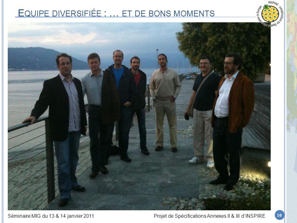 Séminaire MIG du 13 & 14 janvier 2011Projet de Spécifications Annexes II & III d'INSPIRE E QUIPE DIVERSIFIÉE : … ET DE BONS MOMENTS 10