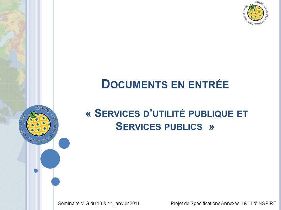 Séminaire MIG du 13 & 14 janvier 2011Projet de Spécifications Annexes II & III d'INSPIRE D OCUMENTS EN ENTRÉE « S ERVICES D ' UTILITÉ PUBLIQUE ET S ERVICES PUBLICS »
