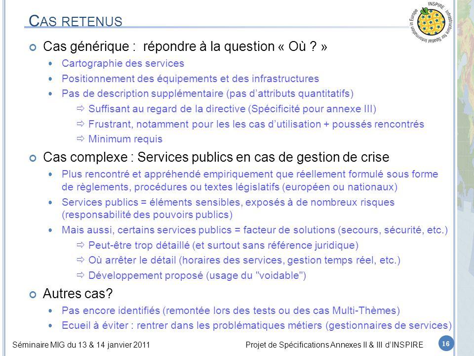 Séminaire MIG du 13 & 14 janvier 2011Projet de Spécifications Annexes II & III d'INSPIRE C AS RETENUS Cas générique : répondre à la question « Où .