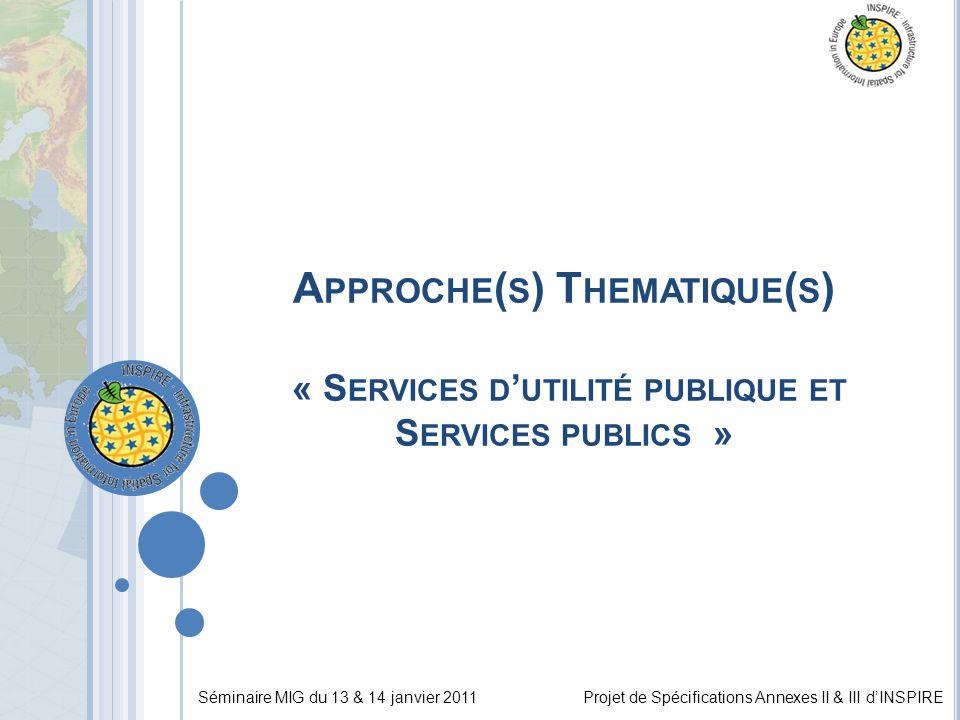 Séminaire MIG du 13 & 14 janvier 2011Projet de Spécifications Annexes II & III d'INSPIRE A PPROCHE ( S ) T HEMATIQUE ( S ) « S ERVICES D ' UTILITÉ PUBLIQUE ET S ERVICES PUBLICS »