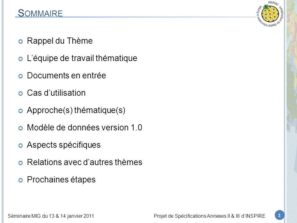 Séminaire MIG du 13 & 14 janvier 2011Projet de Spécifications Annexes II & III d'INSPIRE S OMMAIRE Rappel du Thème L'équipe de travail thématique Documents en entrée Cas d'utilisation Approche(s) thématique(s) Modèle de données version 1.0 Aspects spécifiques Relations avec d'autres thèmes Prochaines étapes 2