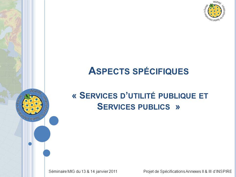 Séminaire MIG du 13 & 14 janvier 2011Projet de Spécifications Annexes II & III d'INSPIRE A SPECTS SPÉCIFIQUES « S ERVICES D ' UTILITÉ PUBLIQUE ET S ERVICES PUBLICS »