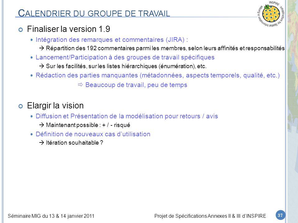 Séminaire MIG du 13 & 14 janvier 2011Projet de Spécifications Annexes II & III d'INSPIRE C ALENDRIER DU GROUPE DE TRAVAIL Finaliser la version 1.9 Int