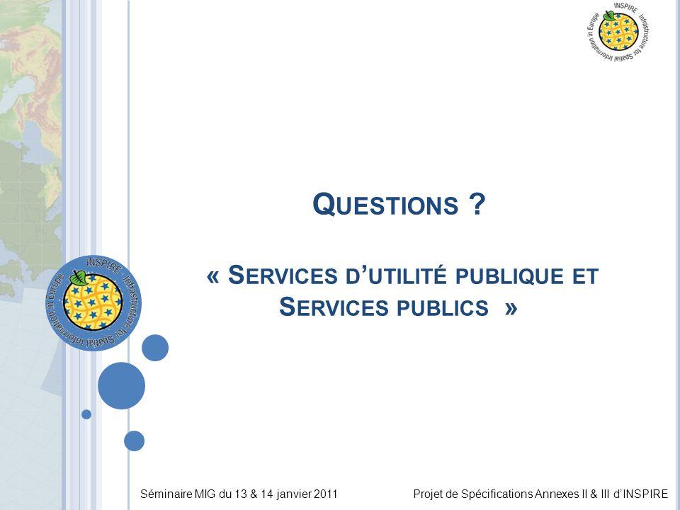 Séminaire MIG du 13 & 14 janvier 2011Projet de Spécifications Annexes II & III d'INSPIRE Q UESTIONS ? « S ERVICES D ' UTILITÉ PUBLIQUE ET S ERVICES PU