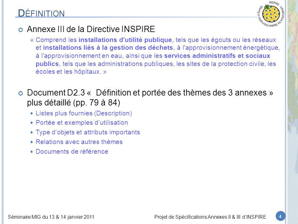Séminaire MIG du 13 & 14 janvier 2011Projet de Spécifications Annexes II & III d'INSPIRE D ÉFINITION Annexe III de la Directive INSPIRE « Comprend les