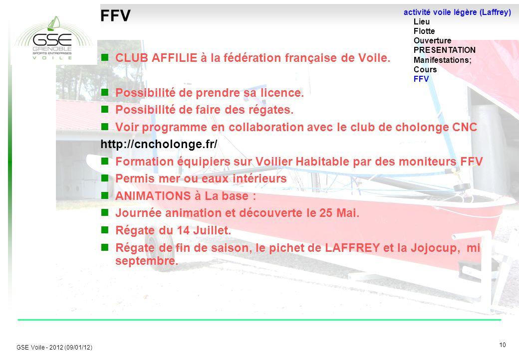 10 GSE Voile - 2012 (09/01/12) FFV CLUB AFFILIE à la fédération française de Voile.