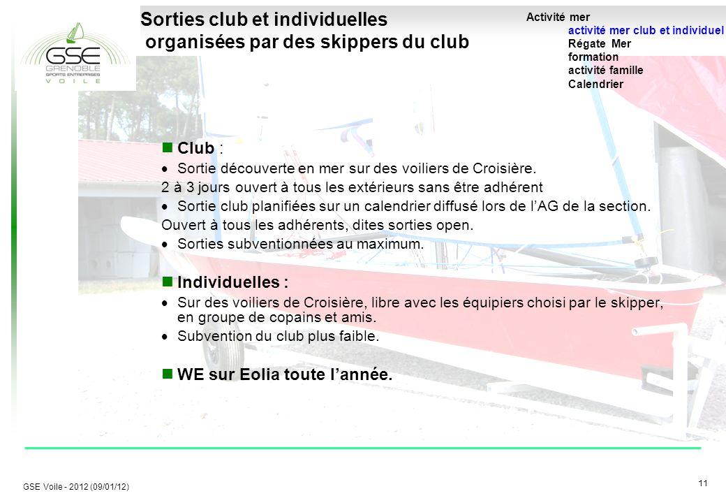 11 GSE Voile - 2012 (09/01/12) Sorties club et individuelles organisées par des skippers du club Club :  Sortie découverte en mer sur des voiliers de Croisière.
