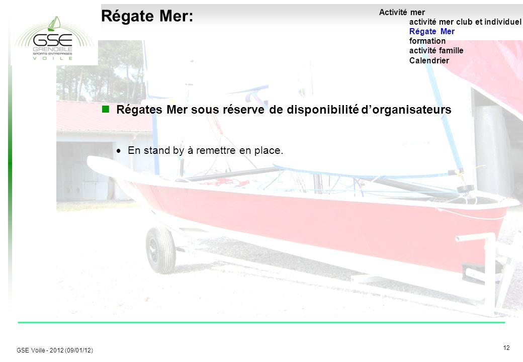 12 GSE Voile - 2012 (09/01/12) Régate Mer: Régates Mer sous réserve de disponibilité d'organisateurs  En stand by à remettre en place.