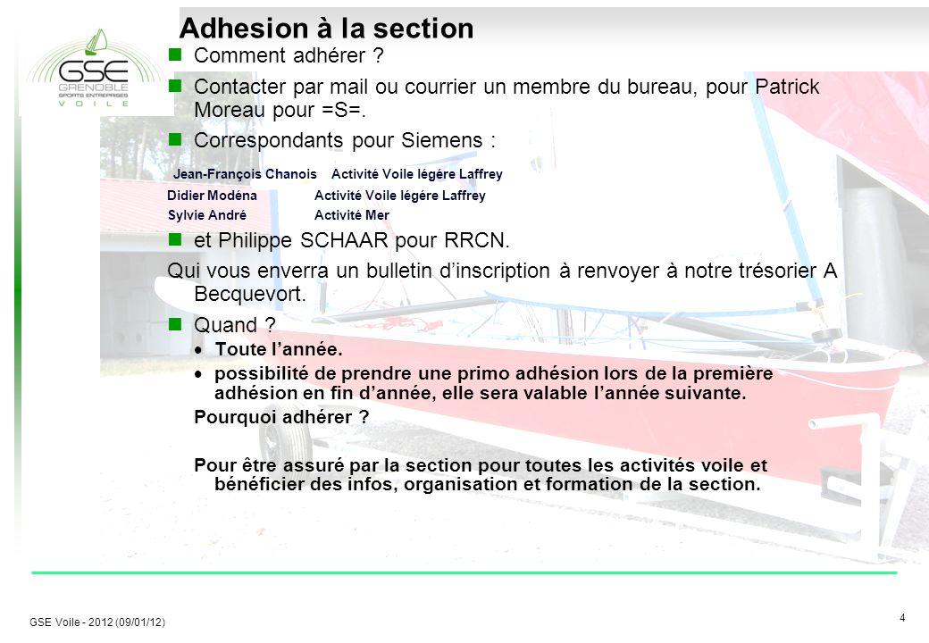 4 4 GSE Voile - 2012 (09/01/12) Adhesion à la section Comment adhérer .