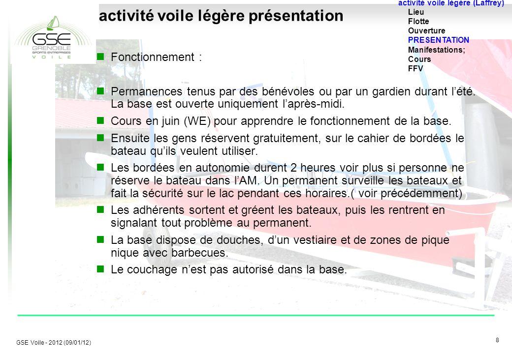 8 8 GSE Voile - 2012 (09/01/12) activité voile légère présentation Fonctionnement : Permanences tenus par des bénévoles ou par un gardien durant l'été.