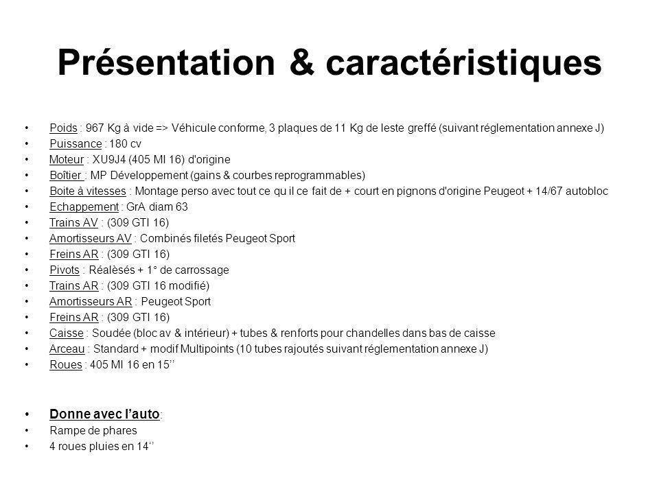 Présentation & caractéristiques Poids : 967 Kg à vide => Véhicule conforme, 3 plaques de 11 Kg de leste greffé (suivant réglementation annexe J) Puiss
