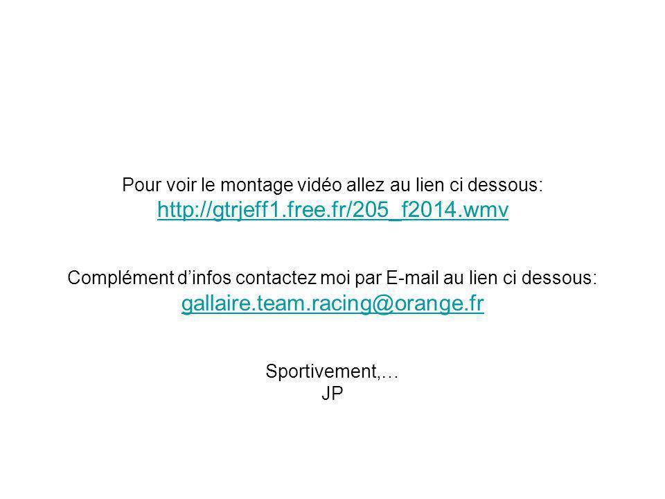 Pour voir le montage vidéo allez au lien ci dessous: http://gtrjeff1.free.fr/205_f2014.wmv Complément d'infos contactez moi par E-mail au lien ci dessous: gallaire.team.racing@orange.fr Sportivement,… JP http://gtrjeff1.free.fr/205_f2014.wmv gallaire.team.racing@orange.fr