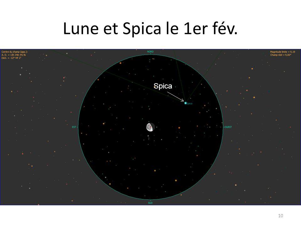 Lune et Spica le 1er fév. 10 Alhena Nu Gem Spica