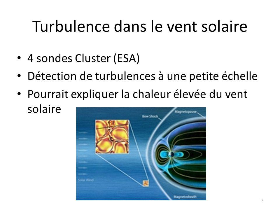 Turbulence dans le vent solaire 4 sondes Cluster (ESA) Détection de turbulences à une petite échelle Pourrait expliquer la chaleur élevée du vent solaire 7