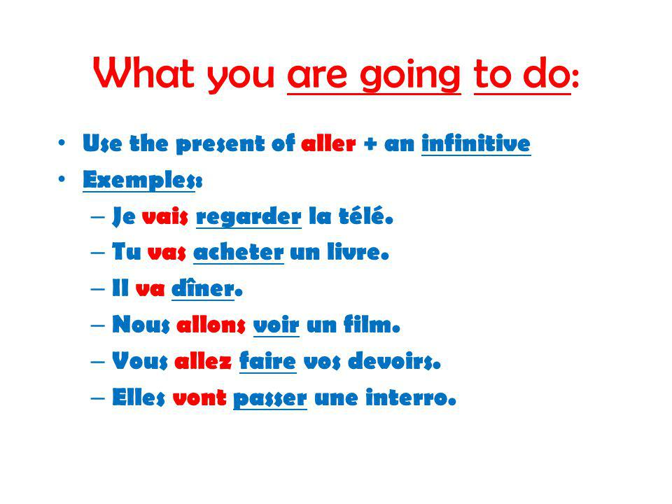 What you are going to do: Use the present of aller + an infinitive Exemples: – Je vais regarder la télé.