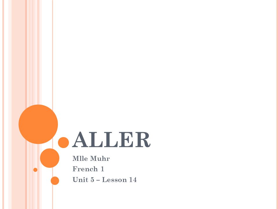 ALLER Mlle Muhr French 1 Unit 5 – Lesson 14