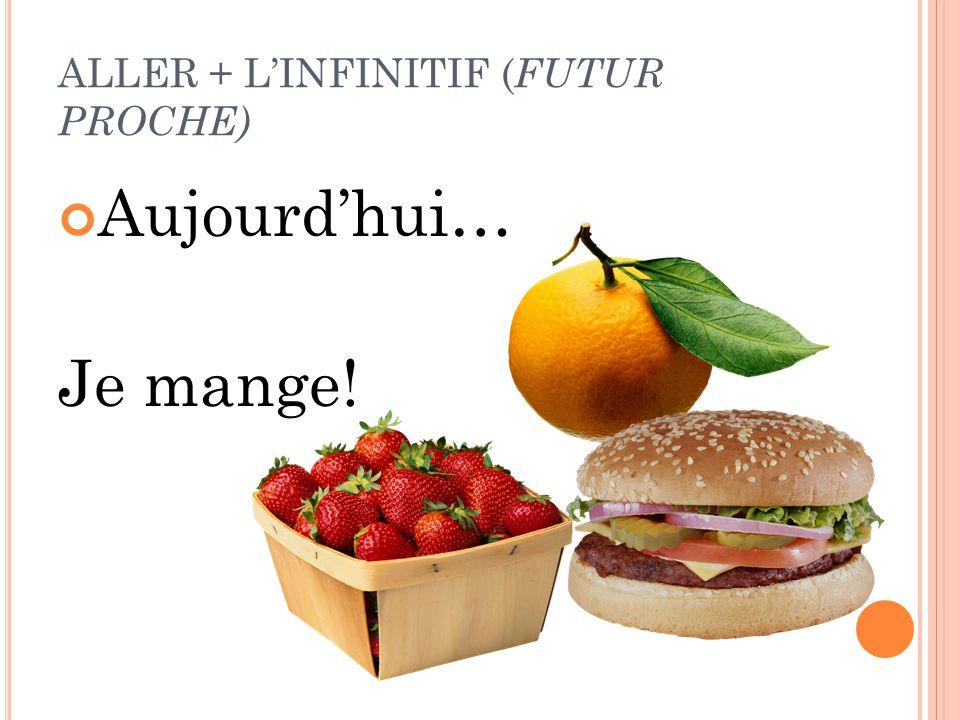 ALLER + L'INFINITIF ( FUTUR PROCHE) Aujourd'hui… Je mange!