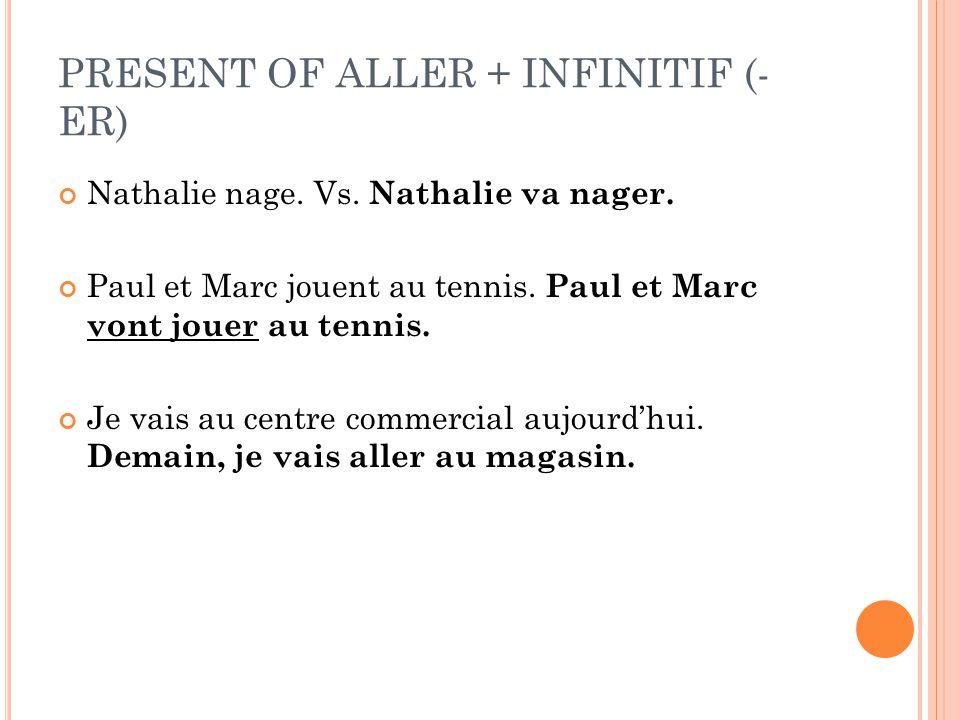 PRESENT OF ALLER + INFINITIF (- ER) Nathalie nage. Vs. Nathalie va nager. Paul et Marc jouent au tennis. Paul et Marc vont jouer au tennis. Je vais au