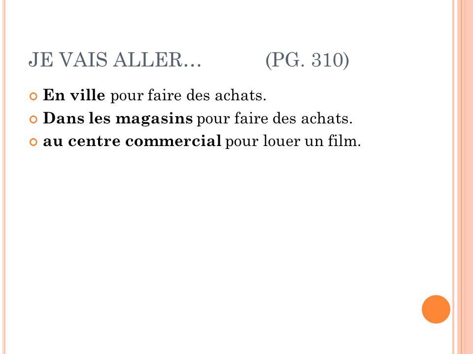 JE VAIS ALLER…(PG.310) En ville pour faire des achats.
