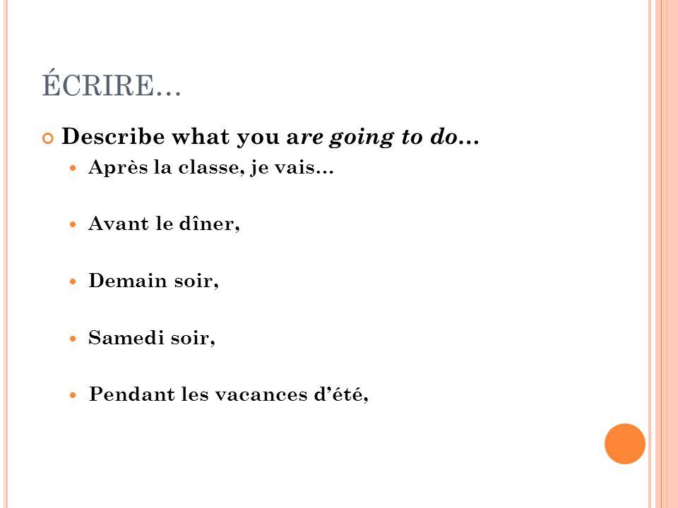 ÉCRIRE… Describe what you a re going to do … Après la classe, je vais… Avant le dîner, Demain soir, Samedi soir, Pendant les vacances d'été,