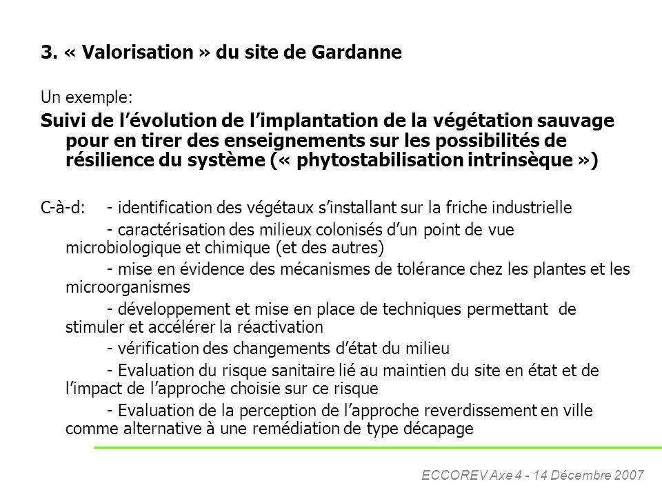 ECCOREV Axe 4 - 14 Décembre 2007 3. « Valorisation » du site de Gardanne Un exemple: Suivi de l'évolution de l'implantation de la végétation sauvage p