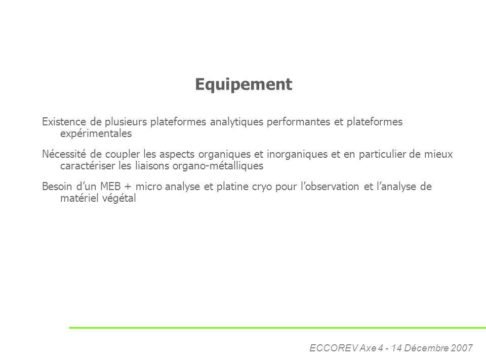 ECCOREV Axe 4 - 14 Décembre 2007 Equipement Existence de plusieurs plateformes analytiques performantes et plateformes expérimentales Nécessité de cou