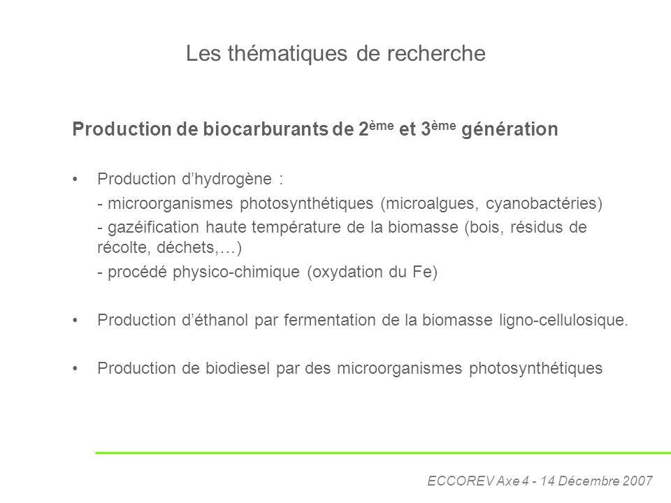ECCOREV Axe 4 - 14 Décembre 2007 Les thématiques de recherche Production de biocarburants de 2 ème et 3 ème génération Production d'hydrogène : - micr