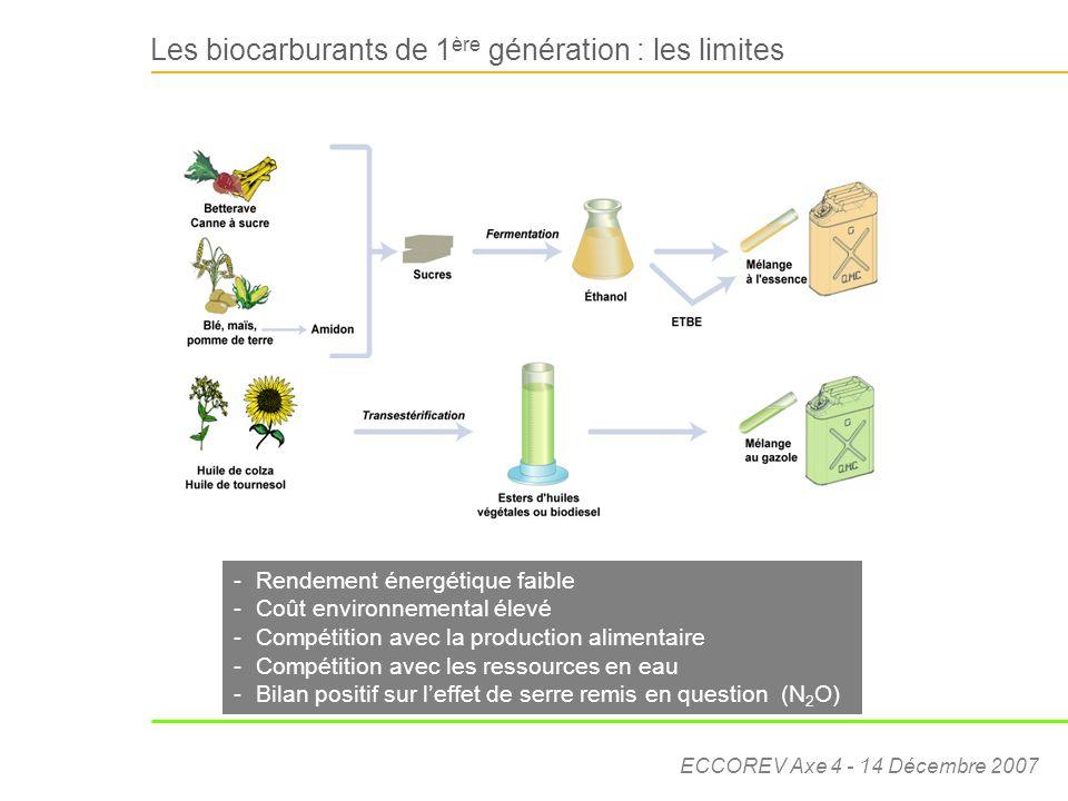 ECCOREV Axe 4 - 14 Décembre 2007 -Rendement énergétique faible -Coût environnemental élevé -Compétition avec la production alimentaire -Compétition av