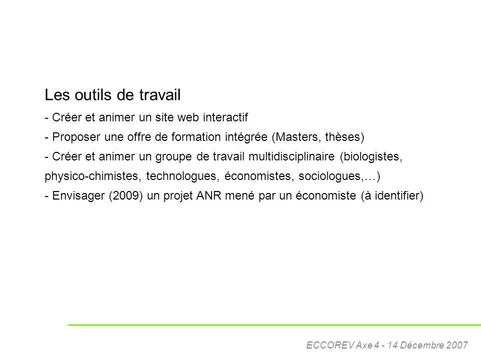 ECCOREV Axe 4 - 14 Décembre 2007 Les outils de travail - Créer et animer un site web interactif - Proposer une offre de formation intégrée (Masters, t