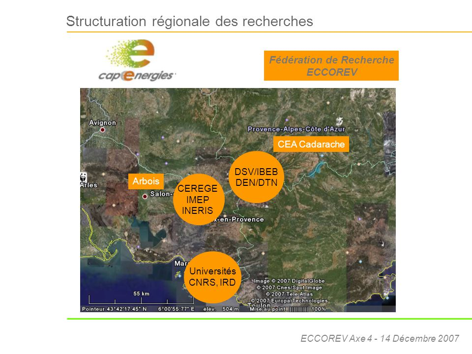 ECCOREV Axe 4 - 14 Décembre 2007 ECCOREV – Axe 4 : Ecotechnologies et développement durable Sous-axe 4A: Caractérisation, traitement et limitation des pollutions Détection des polluants (bioindicateurs, biosenseurs, capteurs physiques et chimiques, procédés) [UMR 6191 CEA, UMR 6116 IMEP, FRE2704 LCE] Réhabilitation de sites et sols contaminés [UMR 6191 CEA, CEREGE, INERIS, LCE FRE 2704] Traitement des eaux et effluents pollués [UR 6181 LMSNM-GP] Recyclage de déchets [CEREGE, INERIS, FRE2704 LCE]