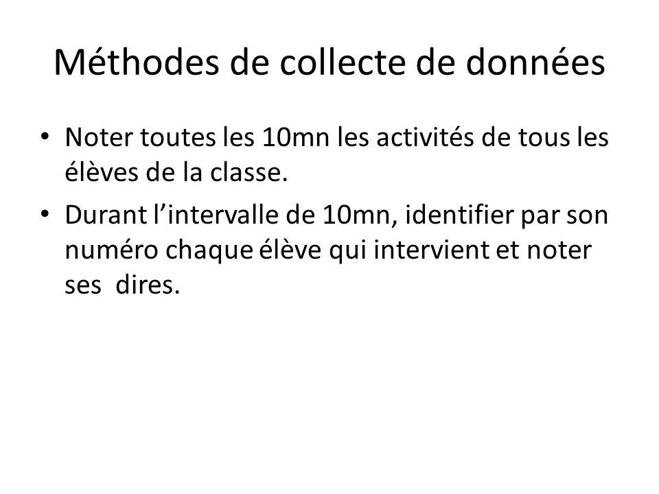 Méthodes de collecte de données Noter toutes les 10mn les activités de tous les élèves de la classe. Durant l'intervalle de 10mn, identifier par son n