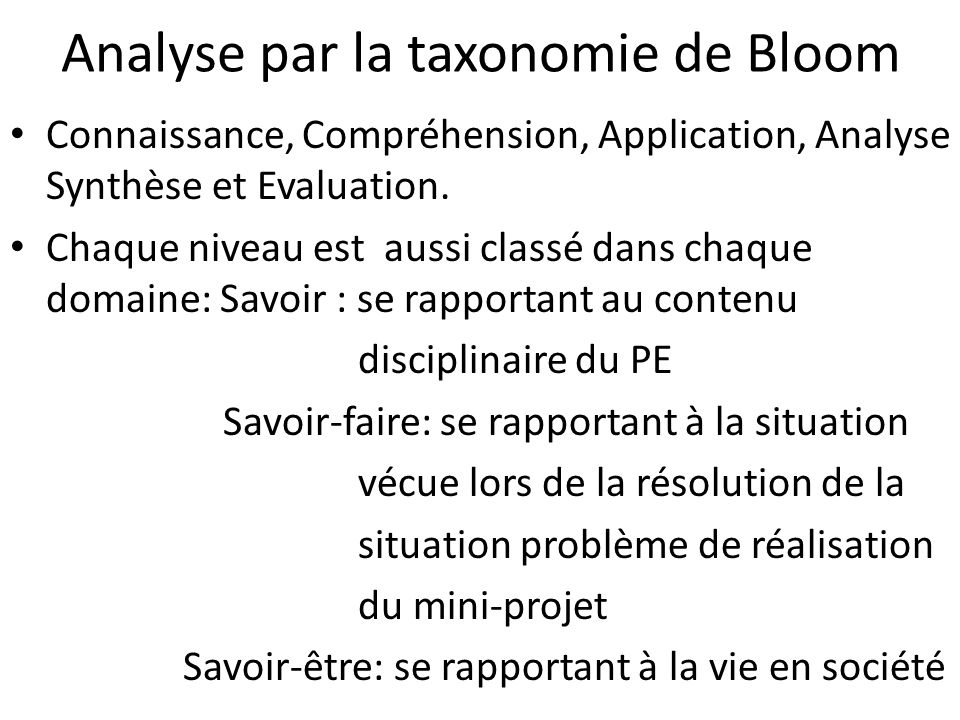 Analyse par la taxonomie de Bloom Connaissance, Compréhension, Application, Analyse Synthèse et Evaluation.