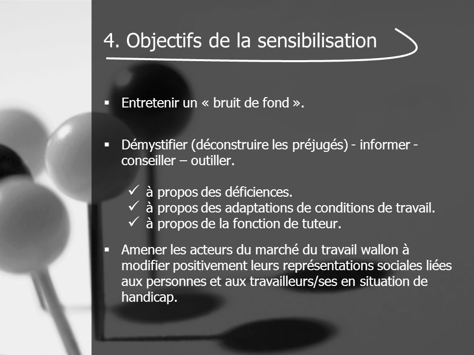 4. Objectifs de la sensibilisation  Entretenir un « bruit de fond ».  Démystifier (déconstruire les préjugés) - informer - conseiller – outiller. à