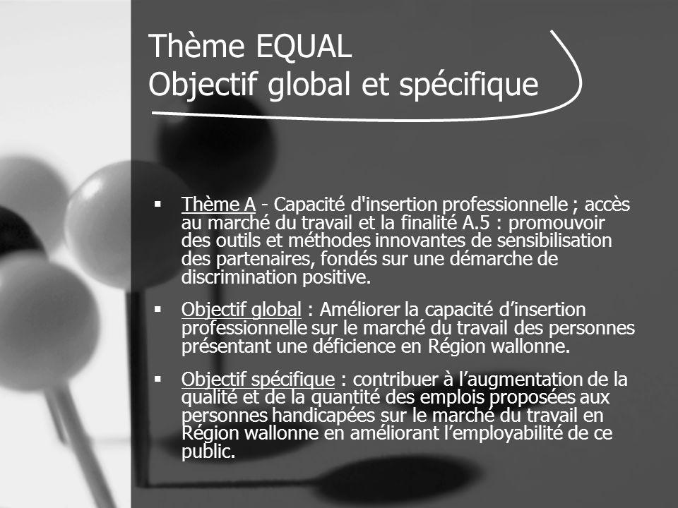 Thème EQUAL Objectif global et spécifique  Thème A - Capacité d insertion professionnelle ; accès au marché du travail et la finalité A.5 : promouvoir des outils et méthodes innovantes de sensibilisation des partenaires, fondés sur une démarche de discrimination positive.